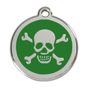 Green Skull & Crossbones Pet Tag
