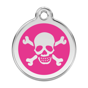 Hot Pink Skull & Crossbones Pet Tag