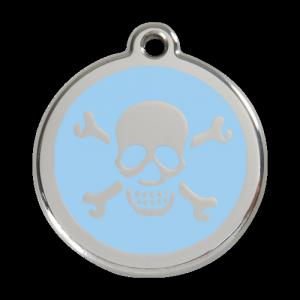 Light Blue Skull & Crossbones Pet Tag