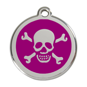 Purple Skull & Crossbones Pet Tag