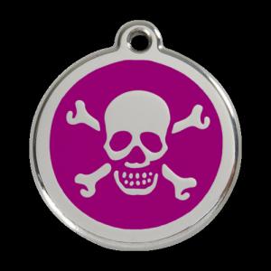 Purple Skull & Crossbones Pet Tag