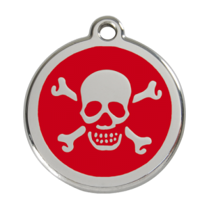 Red Skull & Crossbones Pet Tag