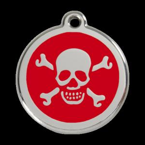 Red Skull & Crossbones Pet Tag