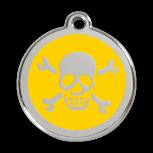 Yellow Skull & Crossbones Pet Tag