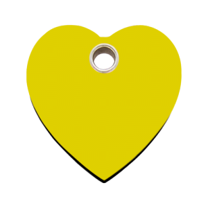 Yellow Heart Plastic Pet Tag