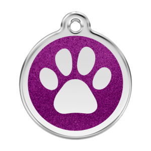 Purple Glitter Paw Print Pet Tag