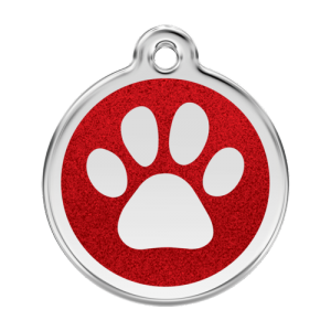 Red Glitter Paw Print Pet Tag