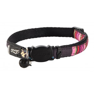 Rogz Neo Cat Collar 11mm - Black Candystripes