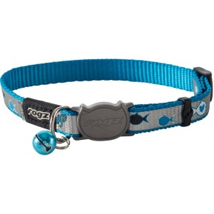 Rogz Reflecto Cat Collar 11mm - Blue Fish