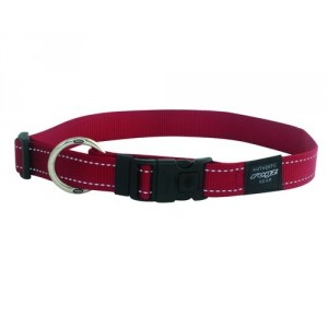 Rogz Utility Reflective Stitching Dog Collar - Red
