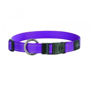 Rogz Utility Reflective Stitching Dog Collar - Purple