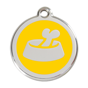 Yellow Bone in Bowl Pet Tag